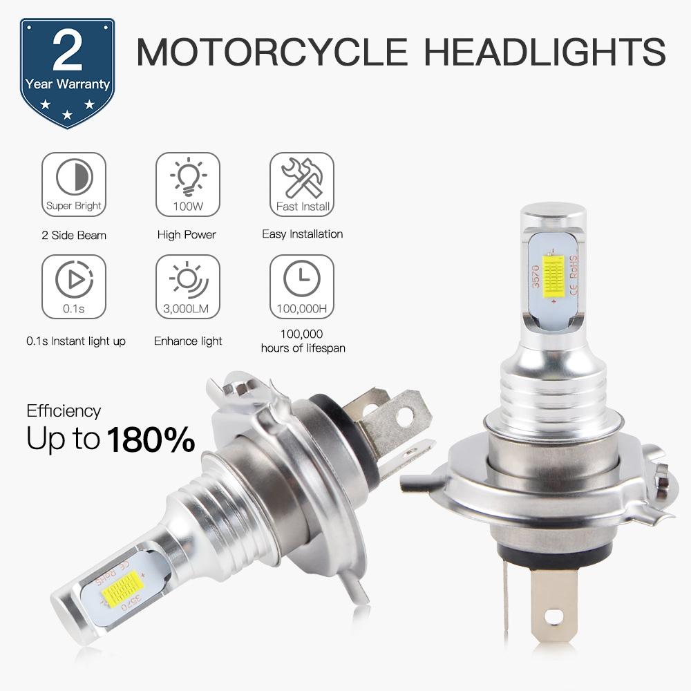For Honda Shadow H4 9003 HB2 LED Headlight Bulbs Kit Motorcycle Bike Light