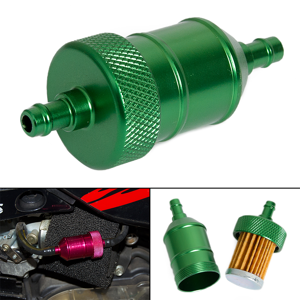 Green CNC Alloy Fuel Filter For Motorcycle Dirt Bike ATV Go Kart CRF XR KLX KX