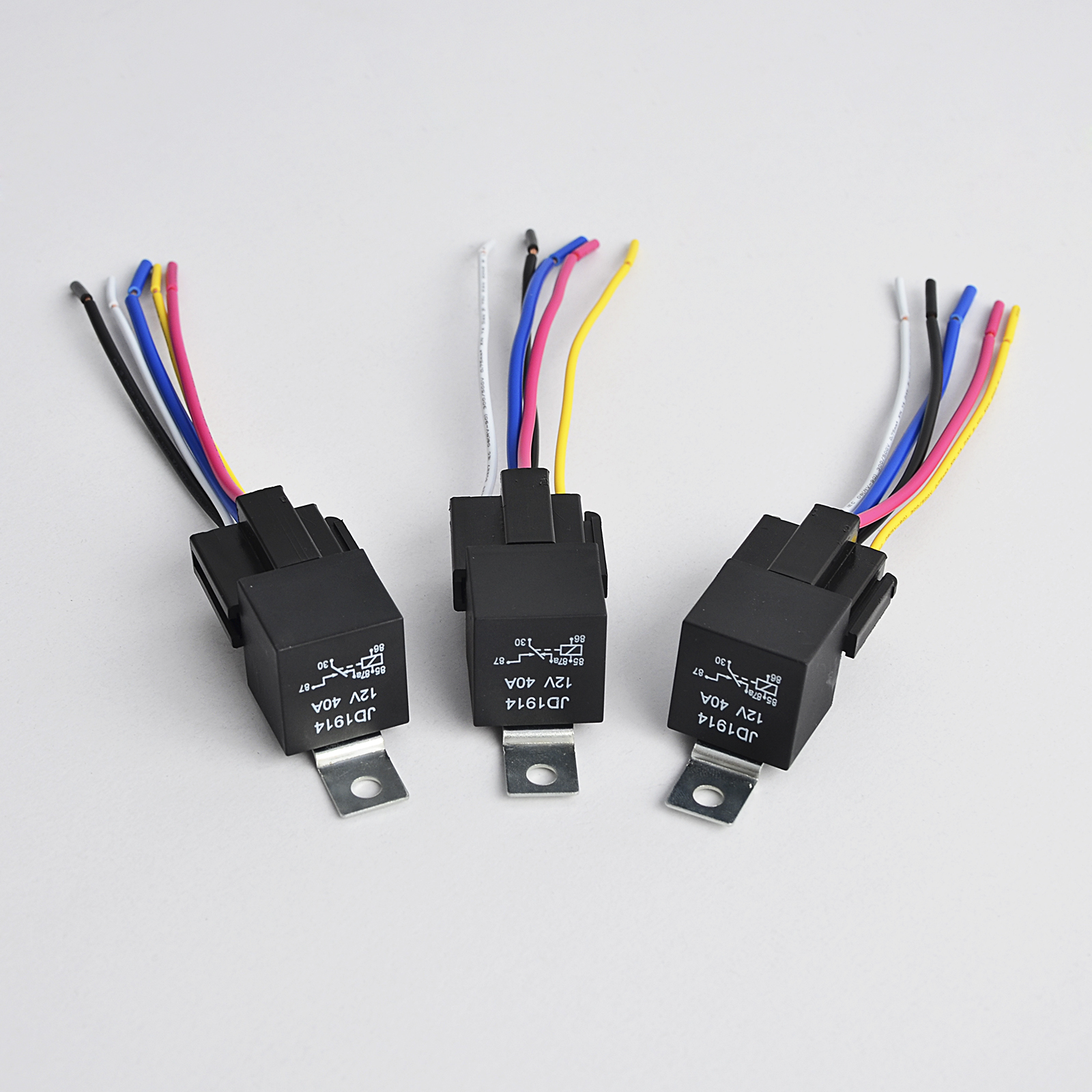 Set Of 5 12v 30  40 Amp Automotive Relay With 5 Pin 5 Wire